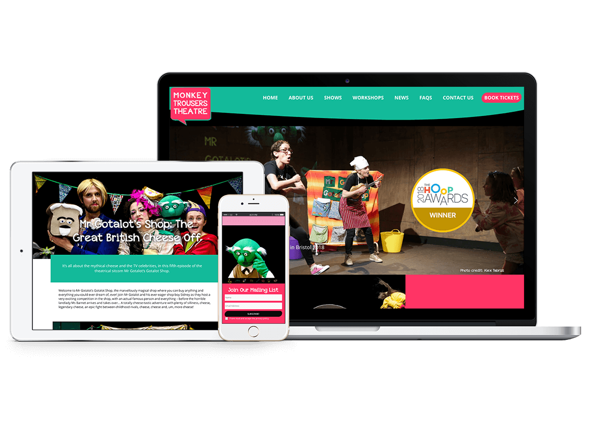New website for Monkey Trousers Theatre.